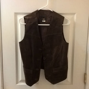 Route 66 Brown Leather Vest Size Small